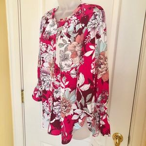 Ellen Tracy Tops - White Pink Top ELLEN TRACY Ruffle 3/4 Sleeve NWT